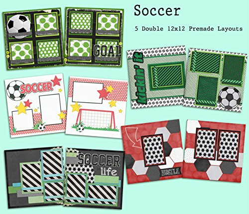Soccer Scrapbook Page - Soccer Scrapbook Set - 5 Double Page Layouts