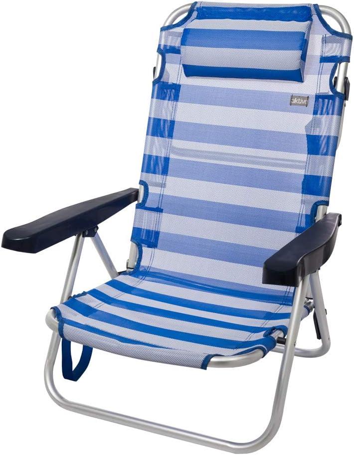 Aktive 53955 Silla Plegable multiposición Aluminio Beach, 108 x 60 x 82 cm, Azul