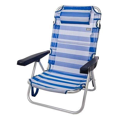 AKTIVE 53955 Silla Plegable multiposición Aluminio Beach, 108 x 60 x 82 cm, Azul Oscuro