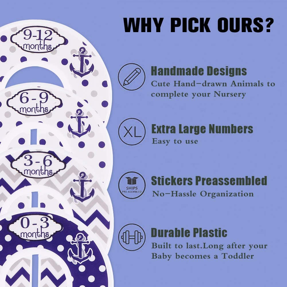 Divisores de tama/ño para armario de beb/é organizador de ropa para beb/é o ni/ña Ancla azul iufvbgxdh 8 unidades