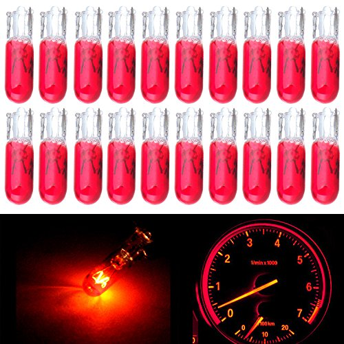 CCIYU 20 Pack Red T5 Wedge Halogen 37 70 73 74 286 2721 LED Interior Light Lamp Bulbs