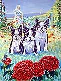 Cheap Caroline's Treasures 7005CHF Boston Terrier Three in a Row Flag Canvas, Large, Multicolor