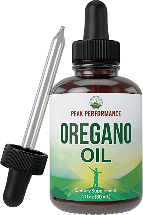 Organic Oregano Oil Vegan Liquid Drops Supplement with Organic Virgin Olive Oil. Origanum Vulgare from Herbal Leaf of Standardized Extract. Food Grade for Internal Use with Antioxidants Carvacrol