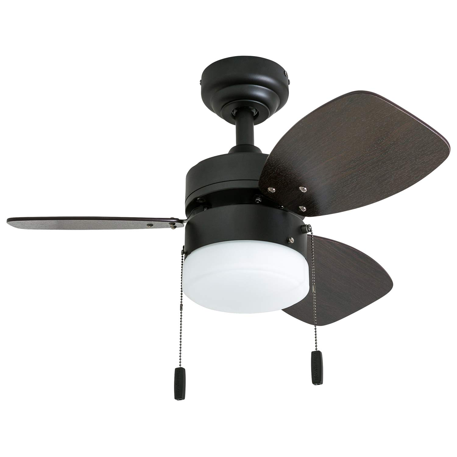 Honeywell Ceiling Fans 50602-01 Ocean Breeze Contemporary, 30'' LED Frosted Light, Light Oak/Satin Nickel Finish Blades, Gilded Espresso