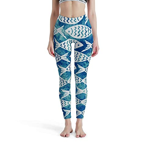 CUCIN-Legging Leggings Ligeros para Yoga con diseño de pez ...