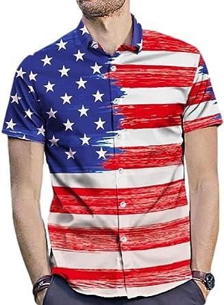 securiuu - Camisa de Hombre con diseño de la Bandera de Estados Unidos 1 US L: Amazon.es: Ropa y accesorios