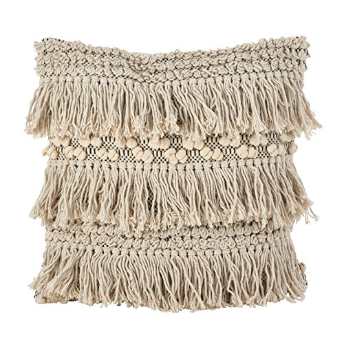 Fringe Throw Pillow (SARO LIFESTYLE Moroccan Wedding Blanket Style Fringe Cotton Down Filled Throw Pillow, 18