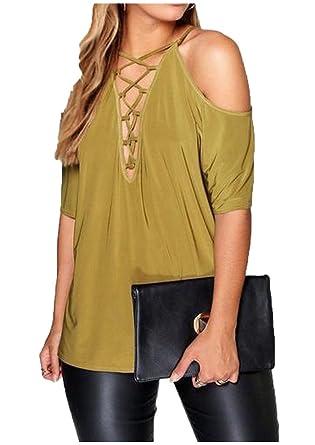 844af7e0c639 Vivi-Women Pure Color Shoulder Off Bandage Blouse China M=US S Yellow