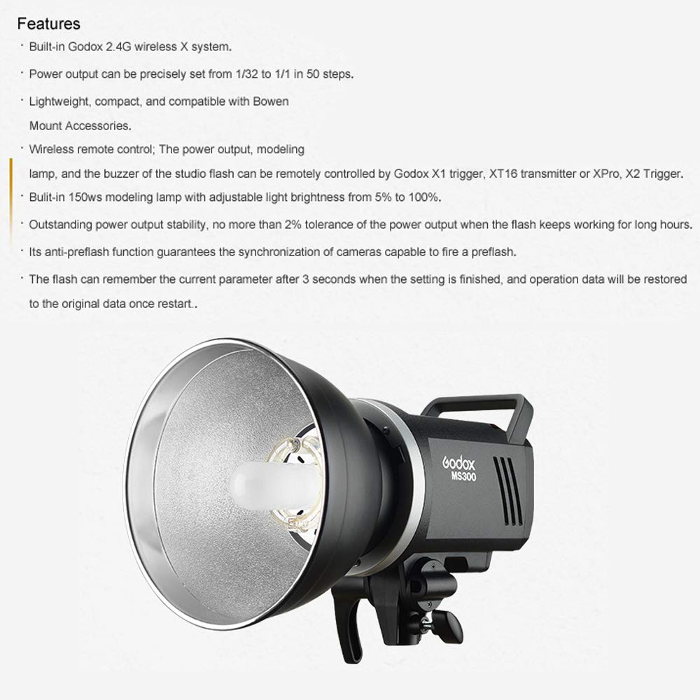 Anti-Preflash 1//32 to 1//1 Steps Output Outstanding Output Stability Godox MS300 SoftBox Kit,MS300 Monolight with 80x80cm Foldable SoftBox 300Ws GN58 5600K 2.4G Flash Strobe,150W Modeling Lamp