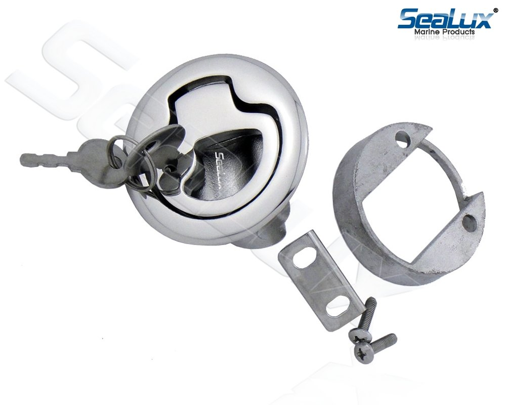 SeaLux Marine 2-3/8'' Locking Slam Pull Latch Lift for Hatch and Drawer 316 Stainless Steel with 2 Keys