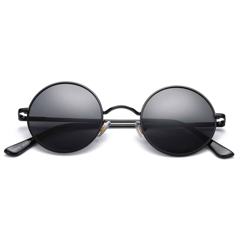 Pro Acme Retro Small Round Polarized Sunglasses for Men Women John Lennon Style (Black Frame/Black Lens) by Pro Acme