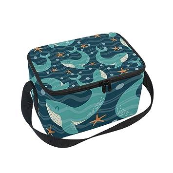 Almuerzo Diseño Océano Delfines Estrella Estampado Bolsa De Alinlo Del Con qSW1BxE