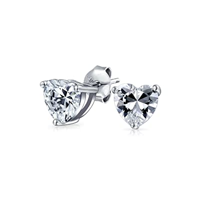 57a058591153d .75 CT Cubic Zirconia Heart Shaped CZ Solitaire Stud Earrings For Women For  Girlfriend 925 Sterling Silver 6mm