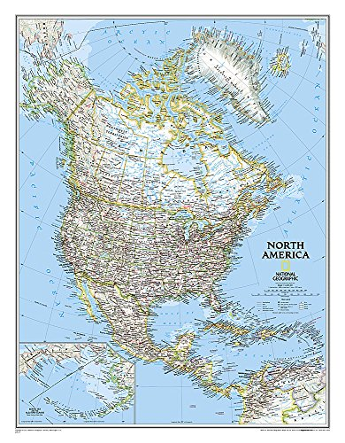 National Geographic: North America Classic Wall Map (23.5 x 30.25 inches) (National Geographic Reference Map) (A Map Of North America And South America)