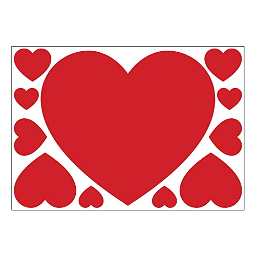 Set of 11 red valentine hearts self adhesive vinyl stickers for walls windows and