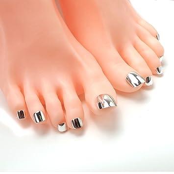Amazon 24ps Metal Smoky Grey Toe False Nails Punk Nail Design