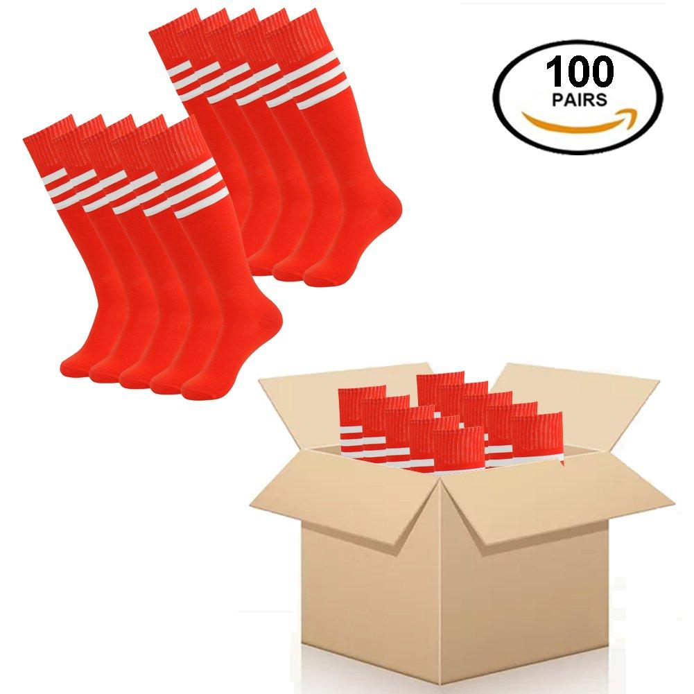 Fasoar Unsiex Soccer Socks Long Tube Football Socks 100 Pairs Red-White Stripe