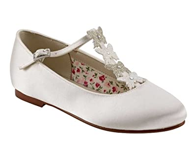 3984578cdf68c Miss Rainbow Kids Flat Ballet Pump Shoes Girls - Kady - Ivory Satin with Butterfly  Detail