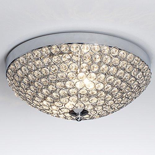 SOTTAE European 2 lights Bowl Shaped Flush Mount Chrome Finish Mondern Crystal Chandelier Ceiling Light, Crystal Ceiling Light For Bedroom Living Room (Crystal Flush Ceiling)