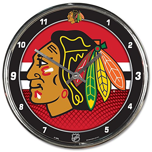 WinCraft NHL Chicago Blackhawks Chrome Clock, 12