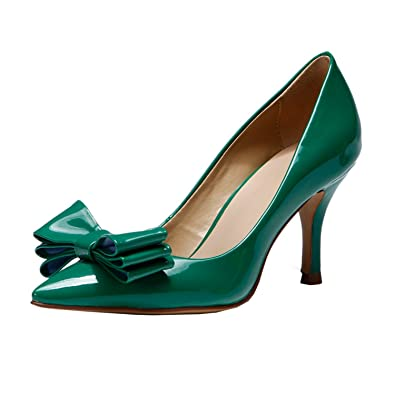 83aa18d412 Miyoopark KF151005 Women's Lovely Bowknot Green Patent Leather Spring Dress Pumps  Shoes 5 ...