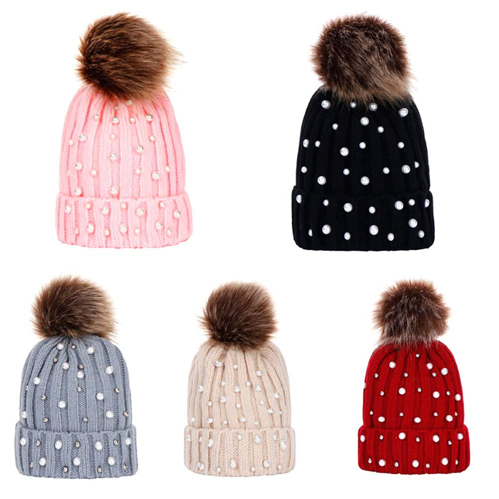 Dream Room Women Pompoms Beanie Hat Confetti Knit Beanie Thick Stretch Ponytaill Cap
