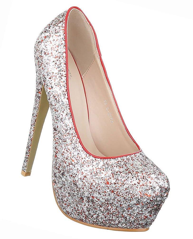 Damen Schuhe Pumps Glitter Plateau High Heels Stiletto Schwarz