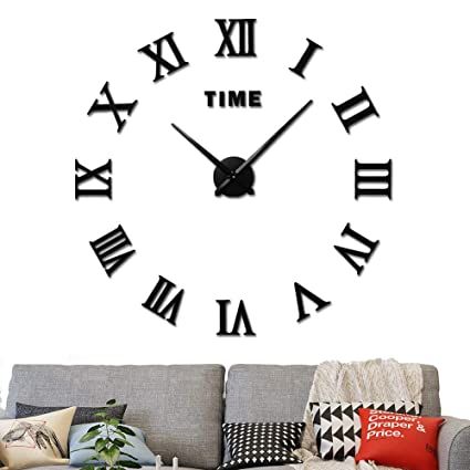 Amazoncom 3d Diy Wall Clock Frameless Large Wall Clock Home
