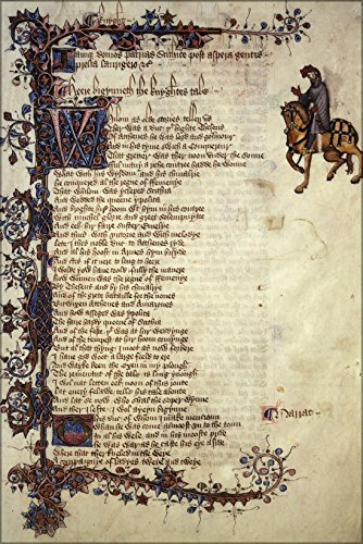 16x24 Poster; Ellesmere Manuscript Canterbury Tales 1St Pg Knights Tale Chaucer (Knights Tale Poster)