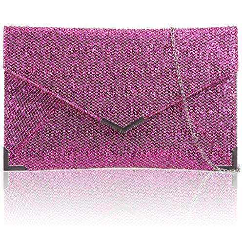 Xardi London nuevo (talla M, soporte de purpurina bolsa de embrague novia sobre las mujeres noche Prom Bolsa fucsia