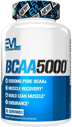 Evlution Nutrition BCAA5000, Branched Chain Amino Acids, Muscle Building Capsules with 5 Grams of BCAAs 30 Servings