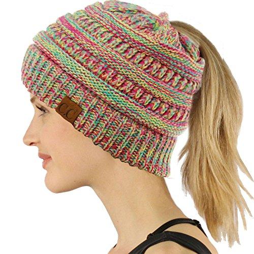 Tail Hot (CC Ponytail Messy Bun BeanieTail Soft Winter Knit Stretchy Beanie Hat Cap Quad Hot Pink)