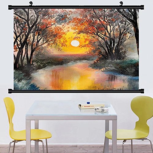 Gzhihine Wall Scroll Oil Painting on Canvas Tree near the Lake at Sunset Wallpaper Decoration Fabric Wall Home Decor - At Jackson Stores Outlets