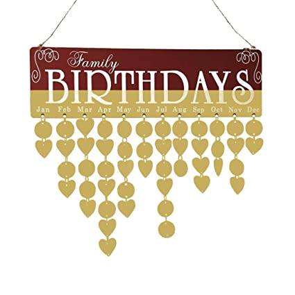 Amazon Com Inkach Family Birthday Calendar Wooden Family Friends