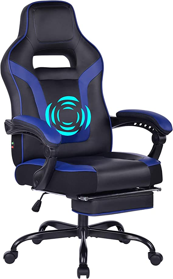 HEALGEN Reclining Gaming Chair with Adjustable Massage Lumbar Pillow and Footrest- Memory Foam PC Computer Racing Chair - Ergonomic High-Back Office Desk Chair
