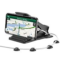 MATONE Support Téléphone Voiture, Support Smartphone Voiture Fixation sur Tableau de Bord avec 5 Clips de Câble, GPS Stand pour iPhone XS Max/XR/X/8 Plus/7/6S, Samsung S9/S8 Plus, Sony etc (Noir)