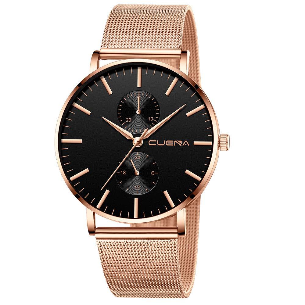 Minimalist Wrist Watches for Men, Unisex Analog Quartz Watch with Steel Mesh Strap 30m Waterproof by Bravetoshop(C)