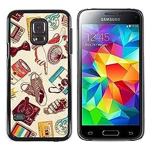 TopCaseStore / la caja del caucho duro de la cubierta de protección de la piel - Cassette Retro Technology - Samsung Galaxy S5 Mini, SM-G800, NOT S5 REGULAR!