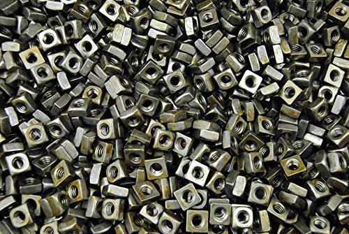 (1000) Unplated 1/4-20 Square Nuts - Coarse Thread - Plain Steel