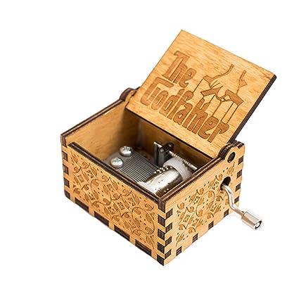 Meiion Antigua caja de música de madera tallada música de manivela: Padrino
