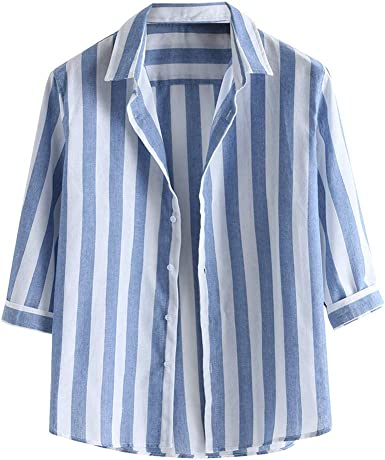 Camisa de Manga 3/4 para Hombre, Informal, a Rayas, Blusa ...
