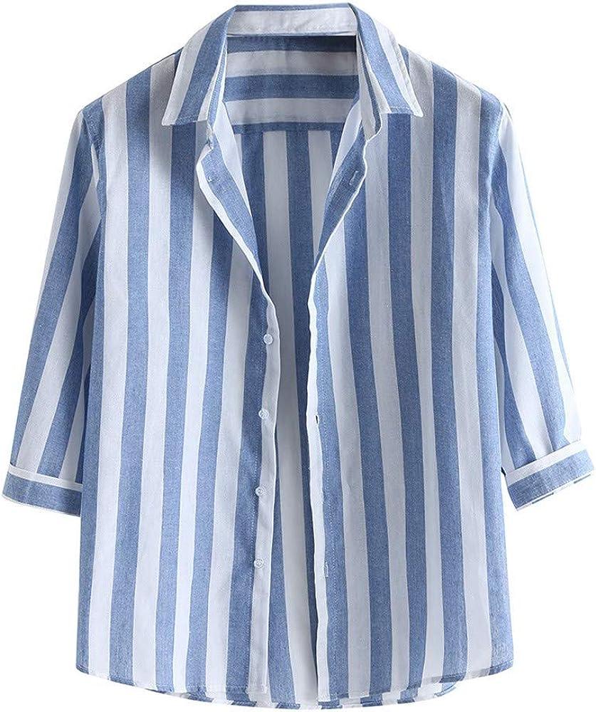 Camisa de Manga 3/4 para Hombre, Informal, a Rayas, Blusa Suelta, Camisa de Negocios, Suave, cómoda y Transpirable M-3XL Azul 3XL: Amazon.es: Ropa y accesorios