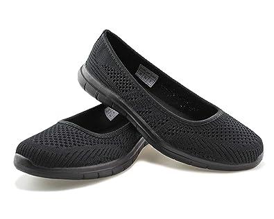 635af5a84fcc0 Jabasic Women Slip On Loafers Breathable Knit Flat Walking Shoes (blk/blk,5)