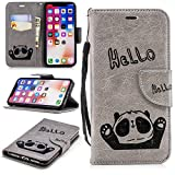 Misteem Cartoon Case iPhone X, Cute Retro Panda Pattern Leather Cases Flip Shockproof Card Holder Bookstyle/Stand / Magnetic Wallet Cover Protector Apple iPhone X - Panda Grey