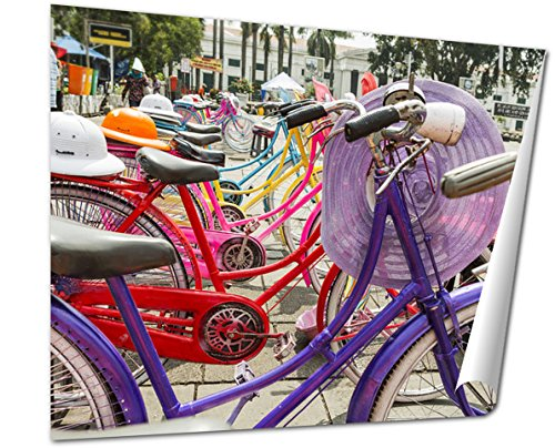 Ashley Giclee Fine Art Print, Colorful Bicycles Lined Up On Fatahilah Square In Jakartas Old Town, 16x20, - Colonial East Best Buy