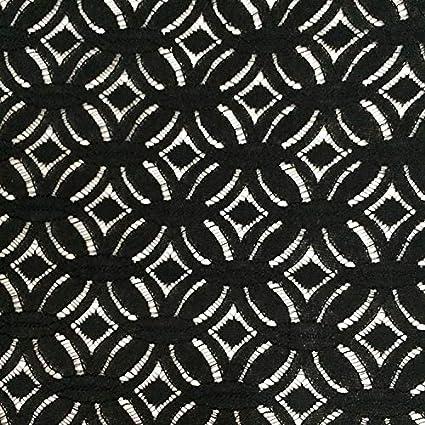 8f642251f25 Petsdelite Fushia: Fushia Ivory Black Knitted Cotton Lace Material July  Fashion Geometric Lace Fabric for Lady Garment: Amazon.in: Home & Kitchen