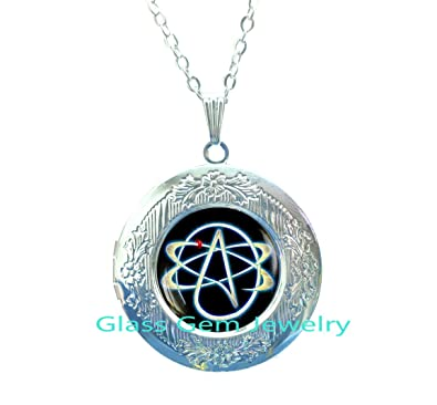 Amazon Atheist Symbol Locket Necklace Atom Locket Pendant