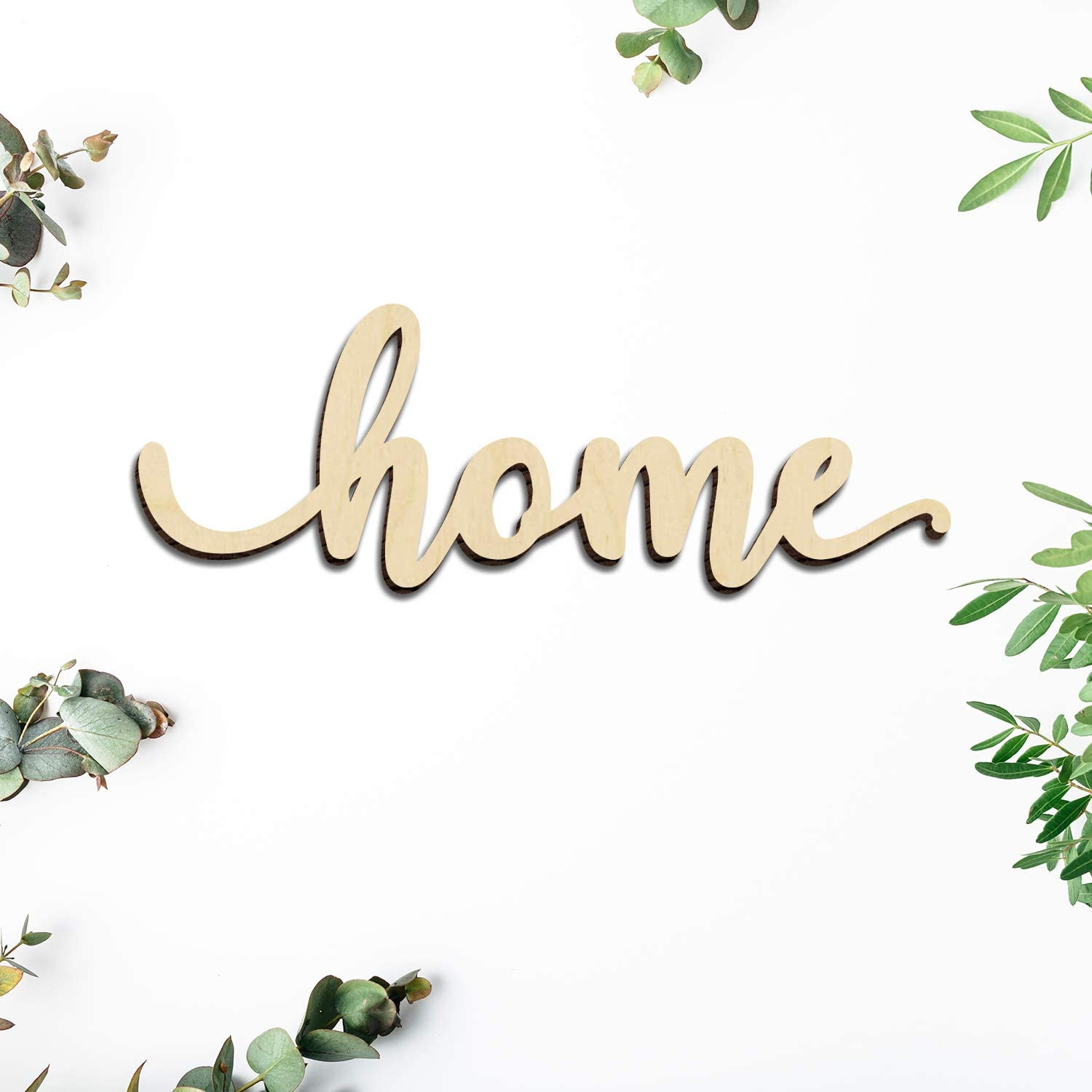 Zhuper Wood Home Sign Wall Decor Wood Script Home Gallery Wall Sign Wall Art Unfinished Rustic Word Farmhouse Decoration 5 Year Anniversary Housewarming Gift 12