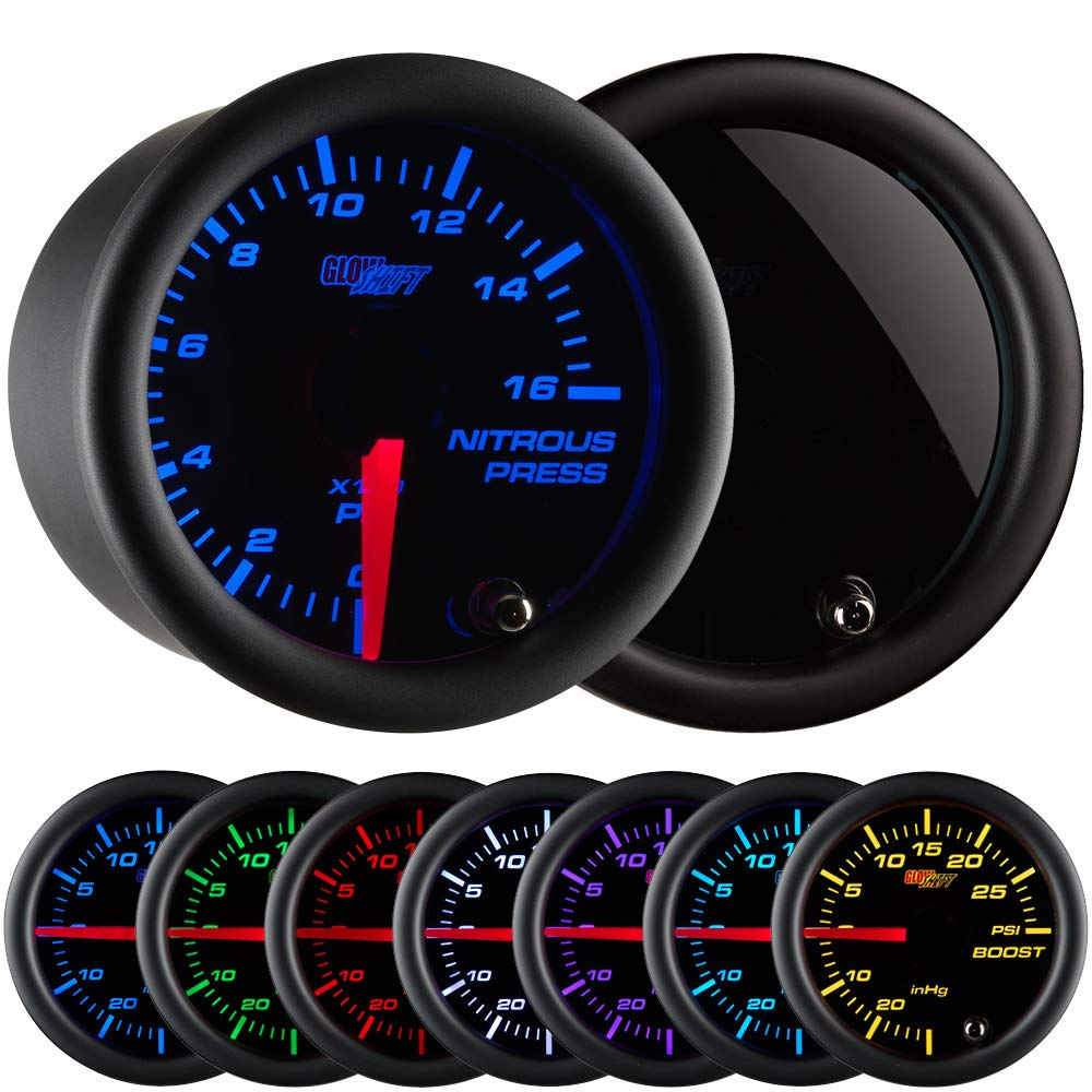 GlowShift Tinted 7 Color 1,600 PSI Nitrous NOS Pressure Gauge Kit - Includes Electronic Sensor - Black Dial - Smoked Lens - 2-1/16'' 52mm