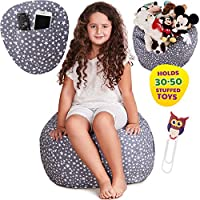 Premium Stuffed Animal Storage Bean Bag Chair, Large Unisex Design and Multipurpose Storage Perfect Decorative Kids Room and Playroom Organizer+FREE Owl Bookmark, Replace Your Mesh Toy Hammock or Net